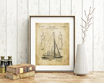 1920s Sail Boat patent print, sail boat blueprint art, sailing decor, boating, seaside beach art, nautical decor, sailing art, husband gift