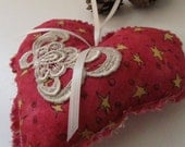 Red Heart and stars Ornament with Venice Lace embellishment, Valentines, hanging door hanger, decorative accent