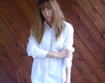 Plain White Cotton Button Down Shirt - Vintage 90s - SMALL S