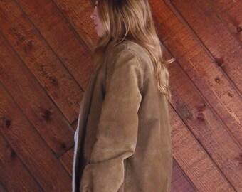 Shearling Lined Suede Zip Up Bomber Jacket - Vintage 70s - LARGE L