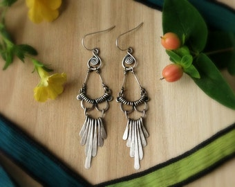 flapper earrings, sterling silver, feminine, bohemian fringe earrings, 1920's style, fine jewelry, art nouveau earrings,ready to ship