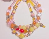 Bohemian Style Three Strand Bracelet, Pink, Orange, Yellow, Boho, Gypsy, Tribal