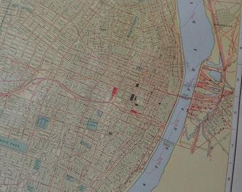 1917 ciudad mapa St. Louis Missouri - Vintage antiguo mapa grande para enmarcar