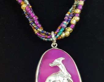 Silver and Pink  beaded Greyhound or Whippet Necklace