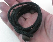 black cotton wrap bracelet of handmade rope with pebble button loop toggle rope bracelet button bracelet 3926
