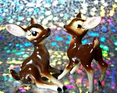Vintage Baby Deer Figurines Set of 2 ,Fawns Kitschy Cute Big Eye Big Ear 1960's  Woodland home Deer Collectible Ceramic Retro Deer Adorable