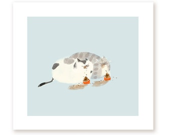 Dinner for Two - Cat Print - Kitchen Art - Cat Art