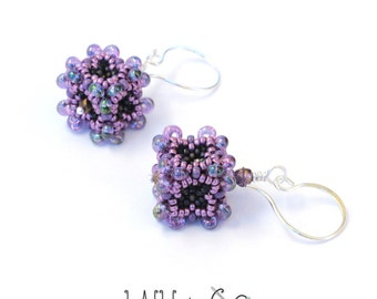 Baroque Cube Earrings in Purple Beaded Sterling Silver Wire