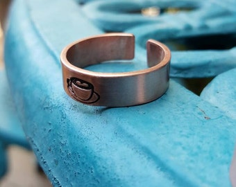Custom copper adjustable ring, Copper ring, Bff gift, hand stamped ring, custom ring, personalized ring,copper gift, 7th wedding anniversary