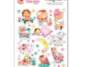 Baby Girl Retro Stickers Planner Scrapbook Cardmaking