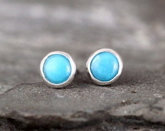 Round Genuine Turquoise Earrings - Bezel Set Stud Pierced Earring - Sterling Silver Earrings - Made in Canada - December Birthstone