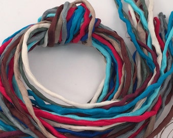 Hand Painted Silk Cord - Hand Dyed Silk - Silk Ribbon - Jewelry Supplies - Wrap Bracelet - Craft Supplies - 2mm Silk Cord Item No.388