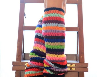 Colorful Leg Warmers - Crochet Leggings in Bright Stripes - Striped Legwarmers