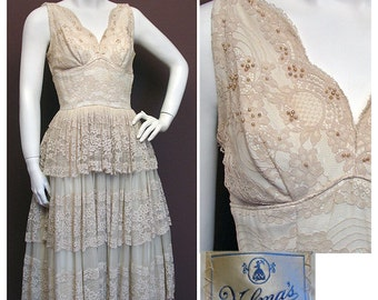 1950s Vintage Cream Lace and Chiffon Party Dress SZ S
