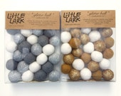 Light Metallic colors felt ball Garland kit by Little Lark, wool felted balls copper gold silver glitter w sparkly string 28 party stringer