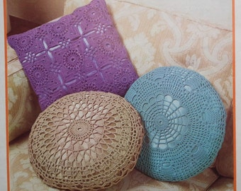 Vintage Crochet Pattern 1970s Three Lacy Cushion / Pillow Covers - 70s original pattern retro home decor furnishings - Twilley's No. 5871 UK