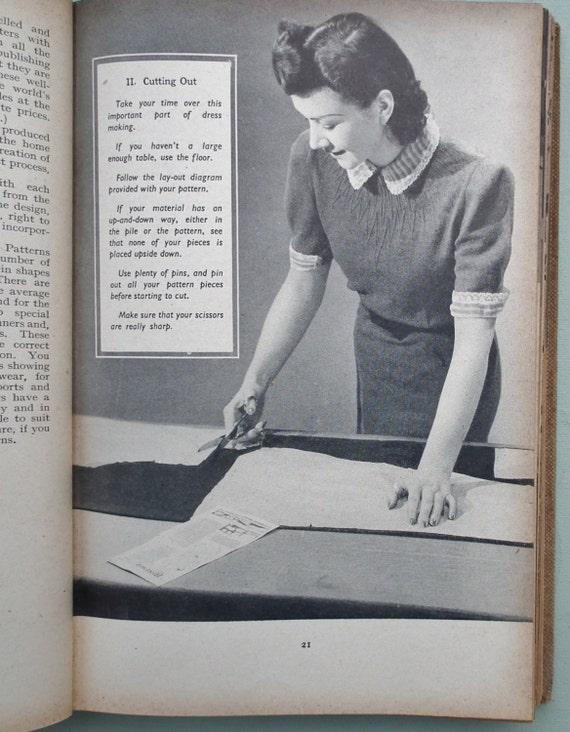 Vintage 1930s 1940s Sewing Needlework Book - Bestway Pictorial Dressmaking - 30s 40s women's children's WW2 wartime style fashions