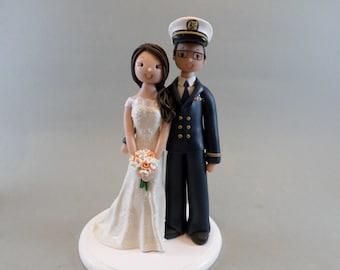 Bride & Groom Military Custom Wedding Cake Topper