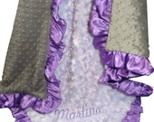 Lavender Rose Swirl and Charcoal Gray Minky Dot Baby Blanket, Orchid Ruffle - available in three sizesCan Be Personalized
