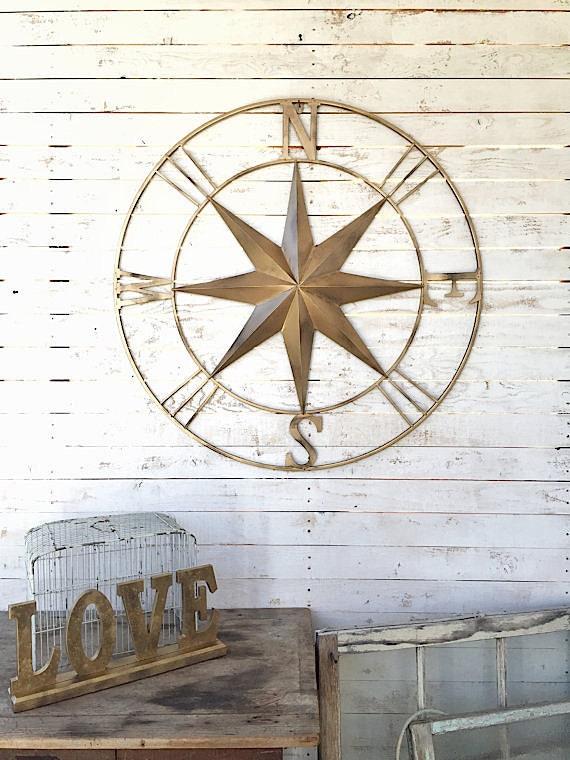Vintage Compass Wall Decor : Items similar to nautical wall decor metal compass