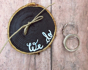 Wedding Ring Holder - Ring Bearer Pillow Alternative - Rustic Wedding - Wood Ring Holder - Winter Wedding - Wedding Ring Exchange - We Do
