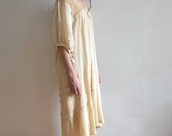 Vintage Ivory Gauzy Cotton and Crochet Lace Mexican Wedding Dress/ 1970s Boho Oversized Dress/ Large
