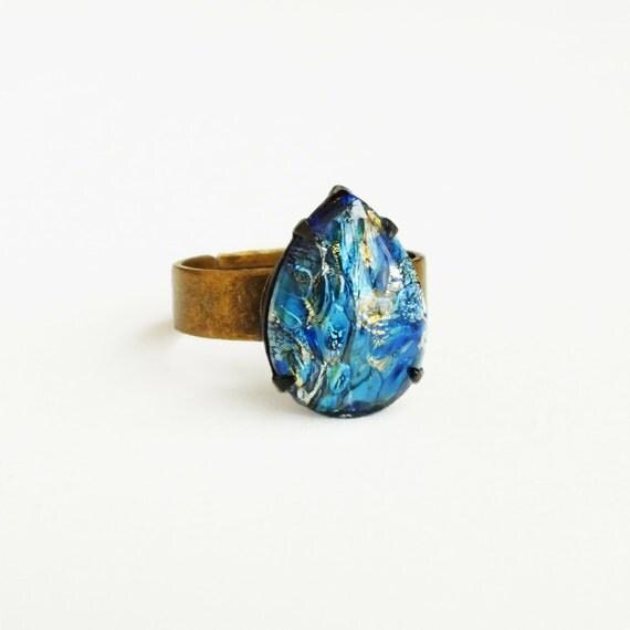 Blue Fire Opal Ring Vintage Iridescent Glass Harlequin Opal  Blue Fire Opal ...