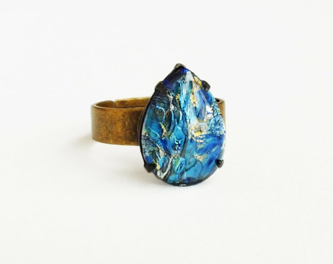 Blue Fire Opal Ring Vintage Iridescent Glass Harlequin Opal Stone Ring Adjustable Brass Royal Blue Glass Ring