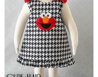 Elmo Dress, Elmo A line Dress, Elmo Outfit, Baby Elmo Dress, Elmo Houndstooth Dress, Elmo First Birthday Dress, Elmo Jumper, Girls Elmo