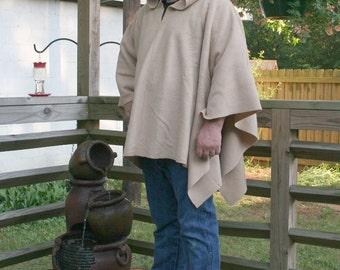 Khaki Hooded AntiPill Fleece Poncho Pullover