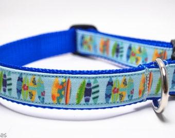Surfboards Dog Collar / Hang Ten / Multicolor Surfboards / Surfing Dog / Beach Dog Collar