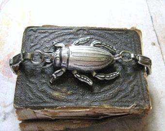 Beetle Bracelet - Antiqued Silver Tone Vintage Watch Strap Bracelet with Beetle Bug - Gift Box