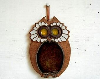 Vintage Owl Ceramic Art Pottery | Victoria Littlejohn Pottery Owl Trivet | Oregon Artist