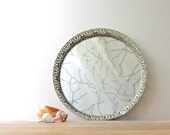"vintage vanity mirror tray 10"" round brass pierced filigree edge"