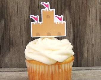 Beach Party Collection - Set of 12 Sand Castle Cupcake Toppers by The Birthday House