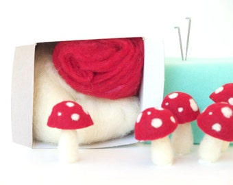 Toadstool Needle Felting Kit - Needle Felted Toadstool Kit - Beginner Starter Kit - DIY Mushroom Kit, DIY Craft Kit, DIY Home Decor
