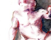 RESERVED For L - Giclee Fine Art Print of Original Male Nude Pose from Oil and Pastel Painting on Paper
