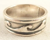 Size 6.5 Vintage Mexican Sterling Wave Pattern Band Ring