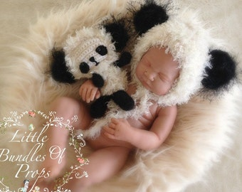 Baby Panda Hat And  Softie Newborn Photo Prop Made To Order Two weeks Time turn around - Ships From Australia