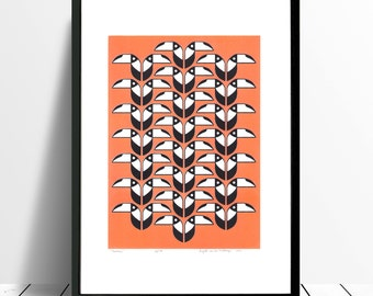 Toucans Limited Edition Screen Print (Neon Peach)