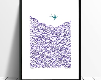 "Fine Art Print ""Swallow"" A3 size (amethyst and biscay bay) - FREE Worldwide Shipping"