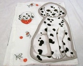 Puppy Pillow Panel, Cut Sew and Stuff, Spots N Dots, Black and White Puppy, Puppy Fabric Panel