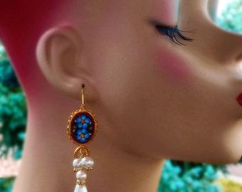 Renaissance Earrings - Micro Mosaic - Fall Fashion - Pearl - ONE of a KIND