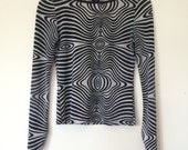 Psychadelic Swirl Print Black White Top Vintage Small 1990s Rave