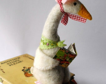 An Original Needle Felted Animal Sitting Mother Goose with Book and Bonnet