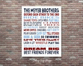 Brothers Sign, Boys Decor, Brothers Wall Art, Brothers PRINTABLE Art, Brothers Room Decor, Custom Brothers Art, Personalized Brothers Art