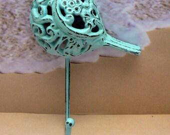 Bird Cast Iron Hook Shabby Chic Beach Blue Floral Home Decor