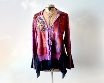 Purple Boho Hoodie Upcycled Clothing Eco Conscious Funky Women's Jacket Hooded Tunic Bohemian Clothes Wearable Art Festival Wear M L 'DARLA'