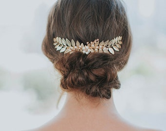 Gold Leaf Hair Comb | Bridal Vine Headpiece | Wedding Hair Piece | Grecian Hairpiece | Laurel Leaf Accessory [Ariadnê Headpiece]
