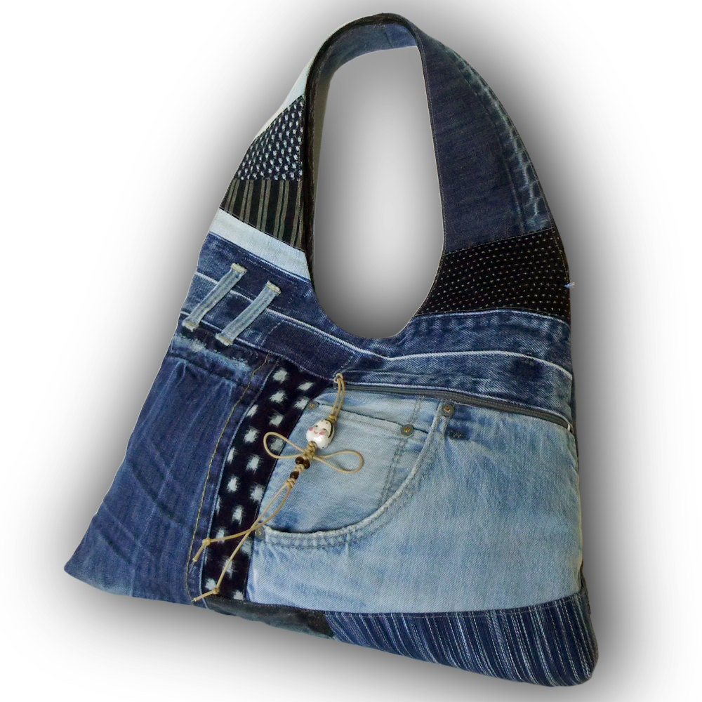 Recycled old jeans hand dyed indigo fabric hobo bag for Old denim